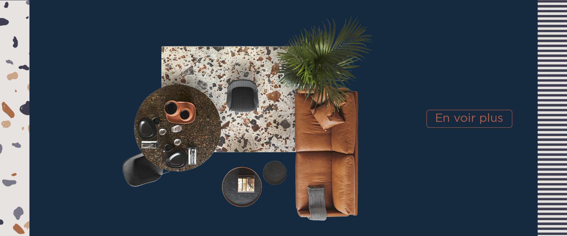 Calligaris, table Vortex, chaise Elle, tapis Terrazzo - Mariette Clermont meubles laval
